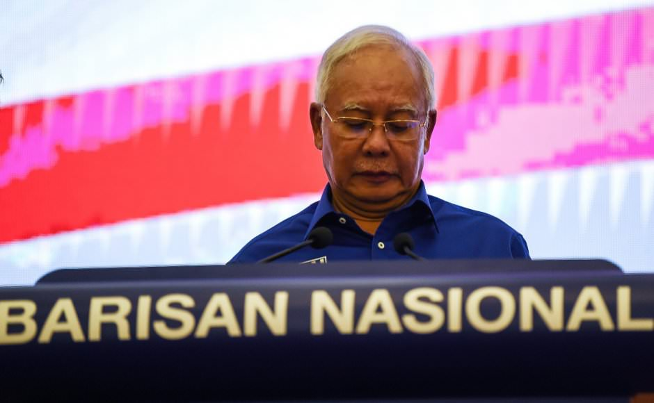 Former premier Datuk Seri Najib Razak addressed the media after Barisan Nasional's loss in GE14.