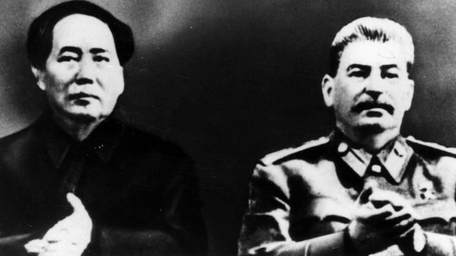 Mao Zedong and Joseph Stalin together on Mao's first trip to Moscow.
