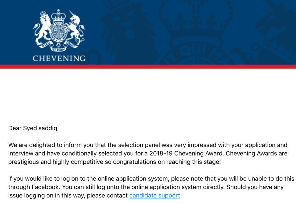 Syed Saddiq also posted a screenshot of his offer letter from Chevening to continue his studies in Oxford University.