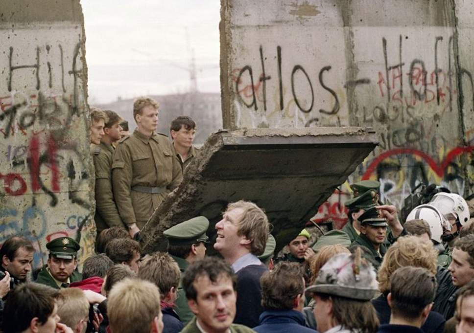 In November 1989, the Berlin Wall was breached for the first time between East and West Germany.