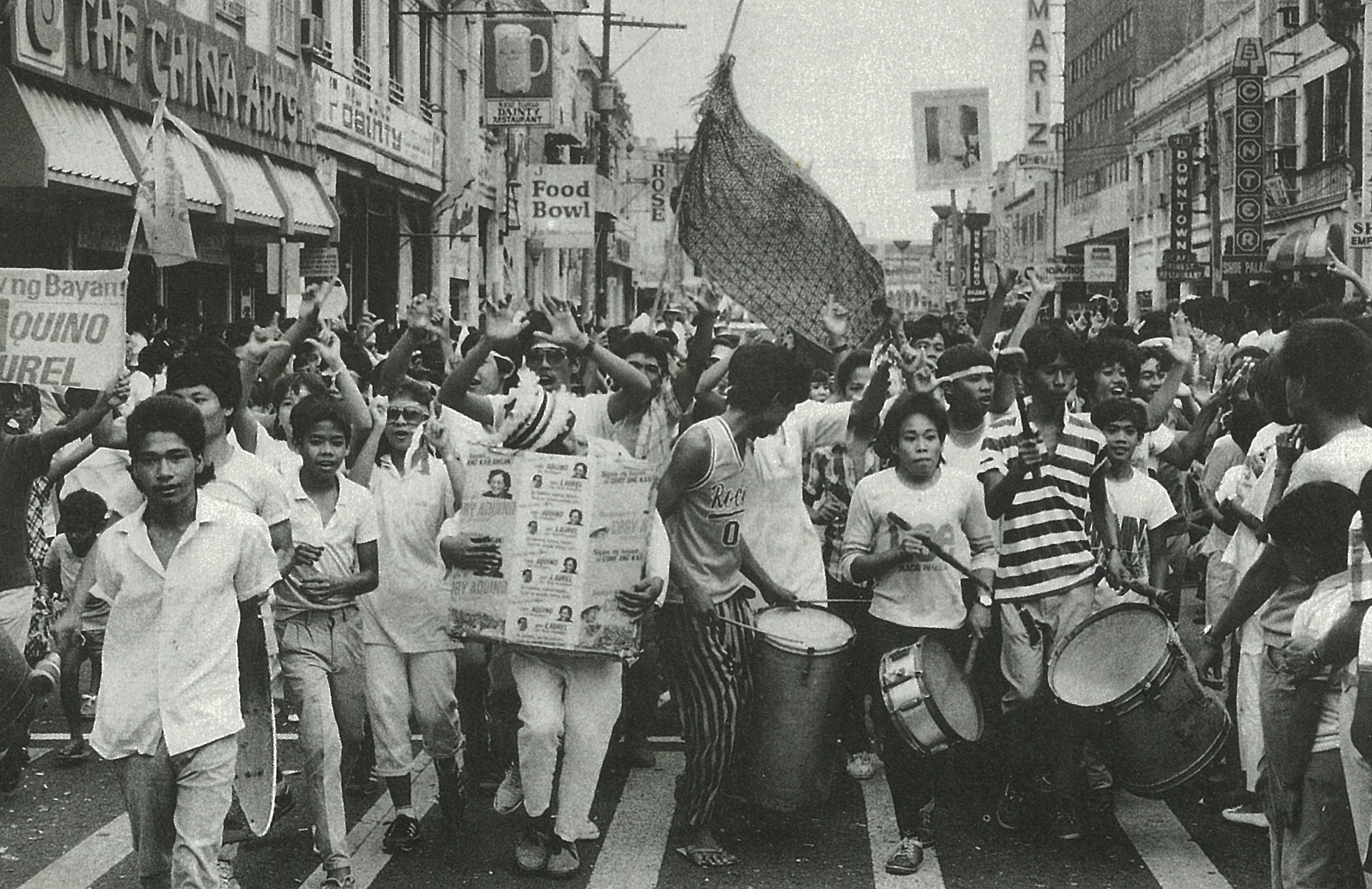 People marched during the People Power Revolution in 1986, also known as the EDSA Revolution.