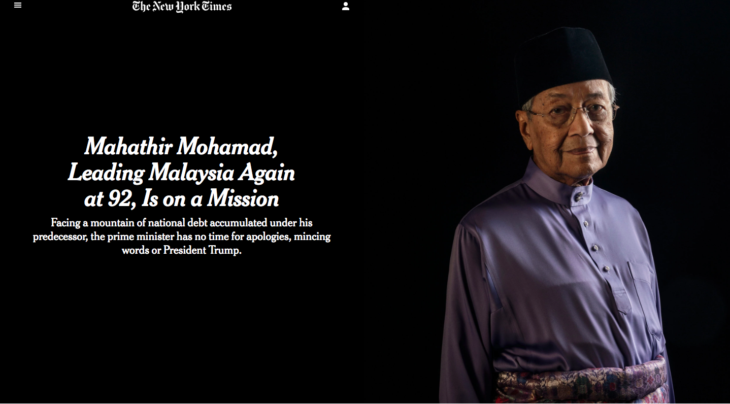 Screenshot of the New York Times' cover on Tun Dr Mahathir.