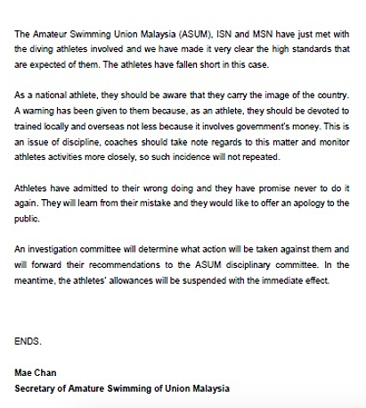 A screenshot of part of the press statement issued by ASUM secretary Mae Chan on 20 June.