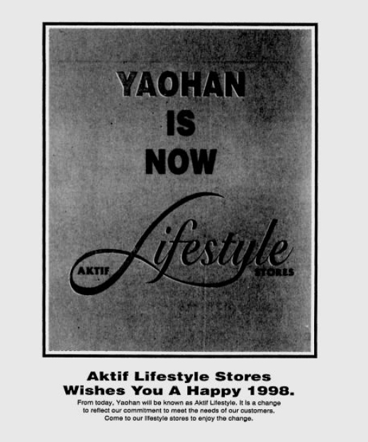 Yaohan became Aktif Lifestyle in 1998.