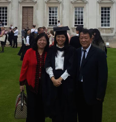 Yeo with her parents at my master degree graduation in Cambridge University.