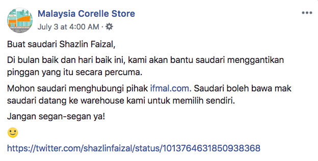 Image from Malaysia Corelle Store / Facebook