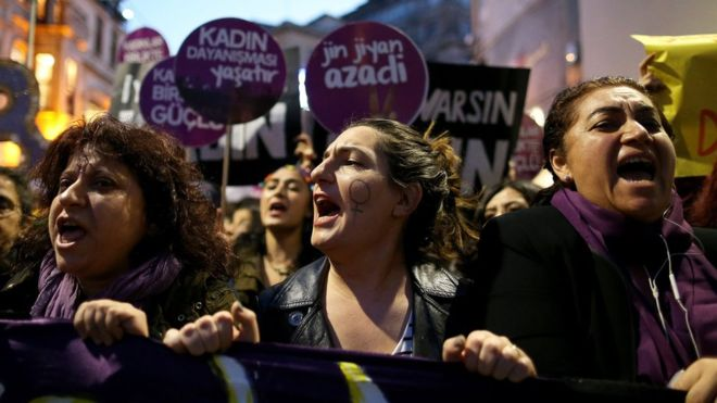 Members of a women's rights group protesting in the streets of Istanbul.