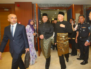 Pekan MP Datuk Seri Najib Razak and other opposition MPs walked out of the Dewan Rakyat after the new speaker's name was announced.