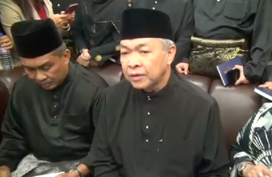 Opposition leader Ahmad Zahid spoke to reporters about the walkout over Ariff's appointment.