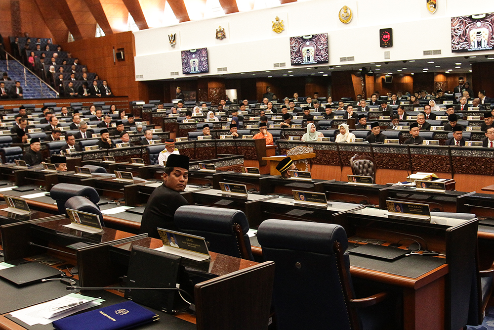 Rembau MP Khairy Jamaluddin remained in his seat while most of his fellow members of opposition walked out in protest.
