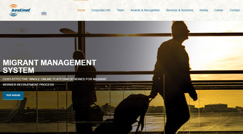 Screenshot of Bestinet's website.