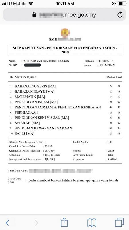A screenshot of the examination result slip has been circulating on social media.
