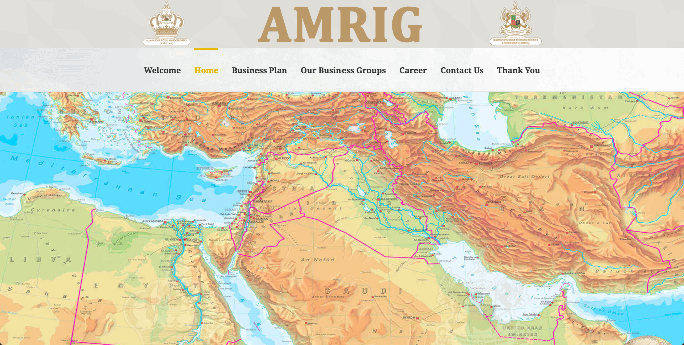 Screenshot of AMRIG's website.