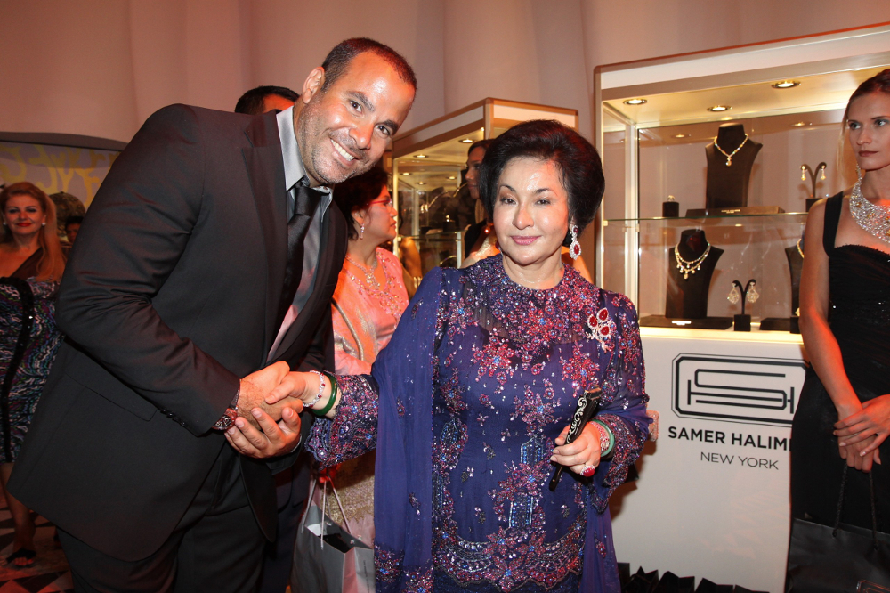 Diamond jeweller Samer Halimeh together with Datin Seri Rosmah Mansor.