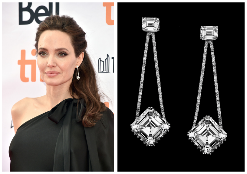 Angelina Jolie sporting diamond pendant earrings designed by Samer Halimeh.