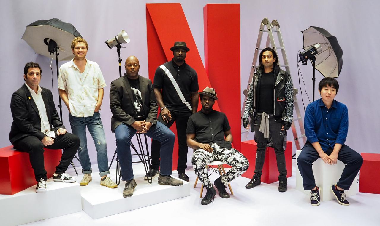 From left: 'Iron Fist' showrunner Raven Metzner, 'Iron Fist' actor Finn Jones, 'Luke Cage' showrunner Cheo Hodari Coker, 'Luke Cage' actors Mike Colter and Mustafa Shakir, 'Castlevania' showrunner Adi Shankar, and 'Godzilla: City on the Edge of Battle' producer Takashi Yoshizawa.