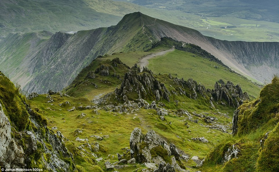 Snowdonia in Wales consists of 14 peaks of over 3,000 feet in height.