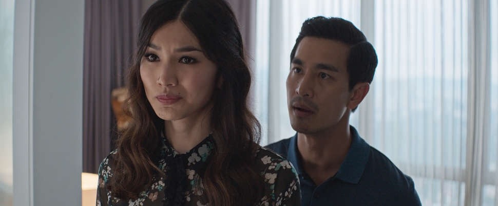 Astrid (left, played by Gemma Chan) and her husband Michael Teo (right, played by Pierre P'ng) in 'Crazy Rich Asians'.