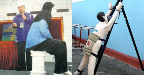 (From left) A demonstration of Syariah caning in 2009, and a mannequin display of judicial caning.