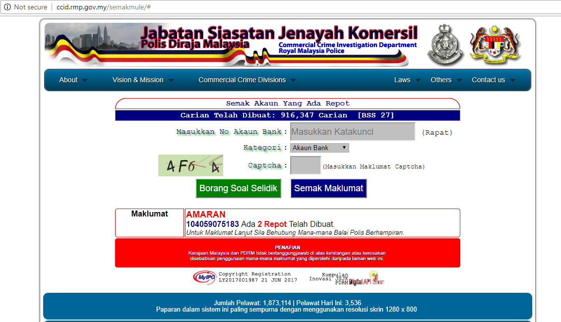 A screenshot of the website after details have been keyed in.