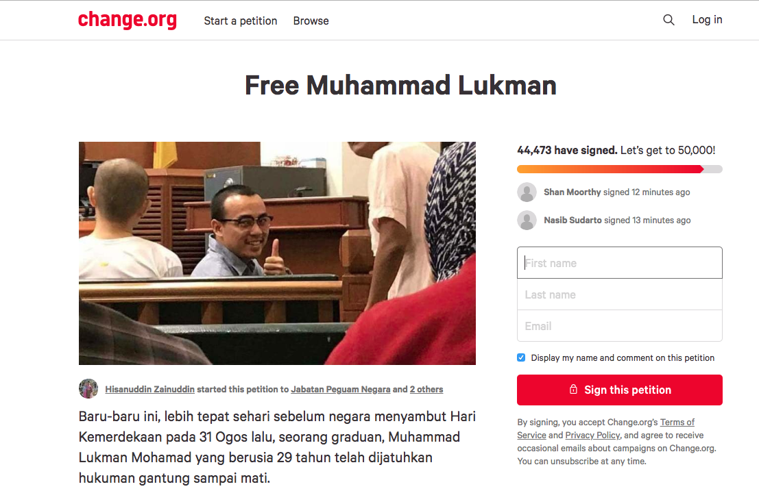 A screenshot of the petition page taken today.