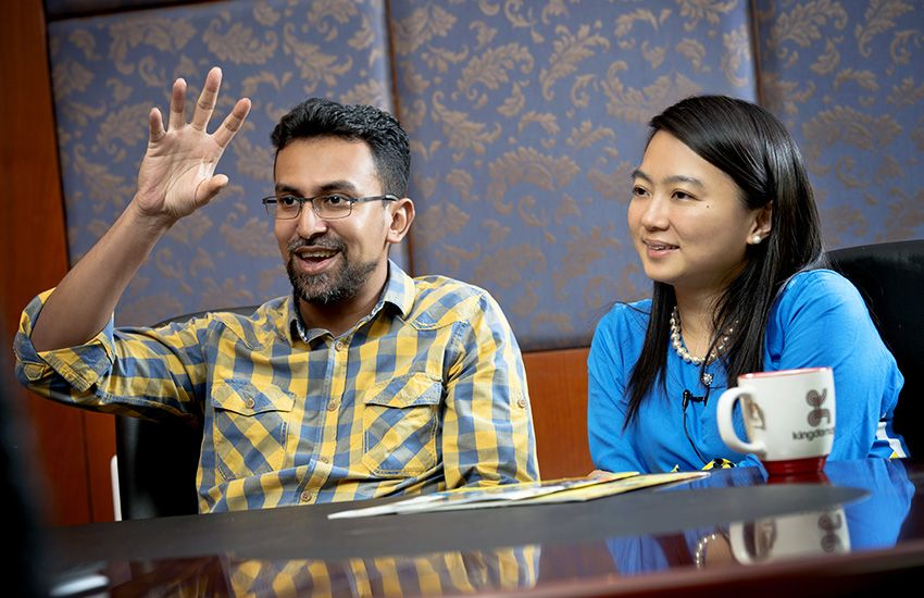 Hannah Yeoh (right) with her husband, Ramanchandran Muniandy during an interview.
