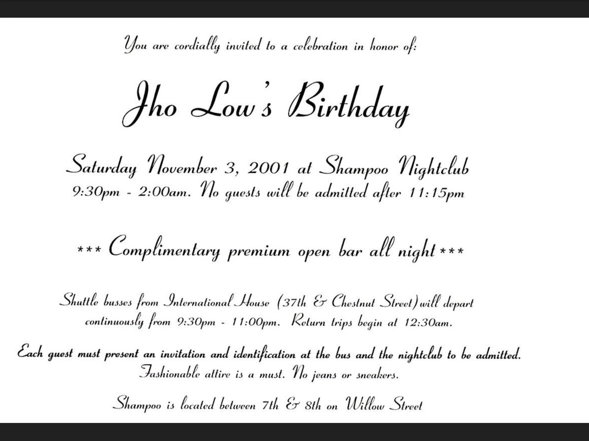 An invite to one of Jho Low's birthday parties back in 2001.