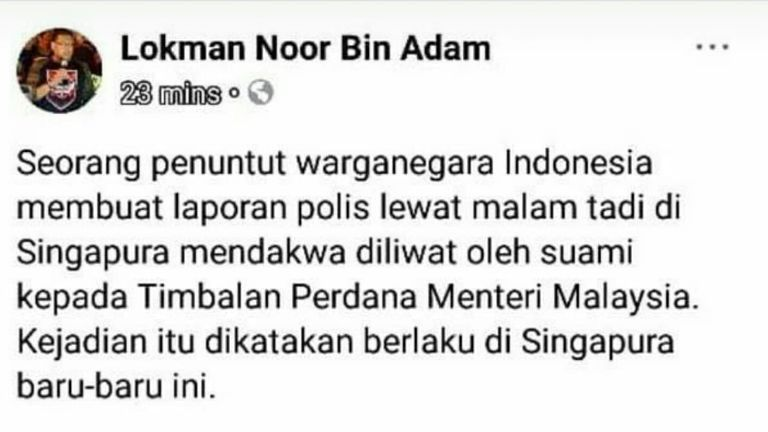 The post has since been taken down by Lokman.