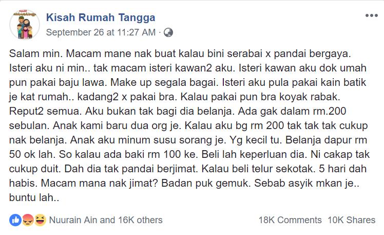 Image from Facebook Kisah Rumah Tangga