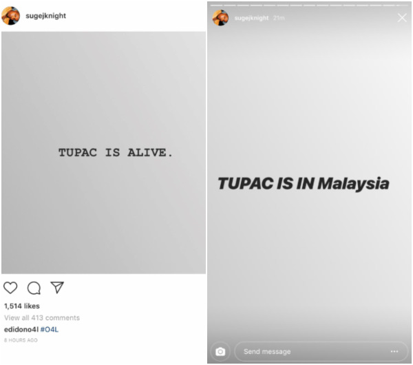 Suge made the claim on his Instagram account yesterday.