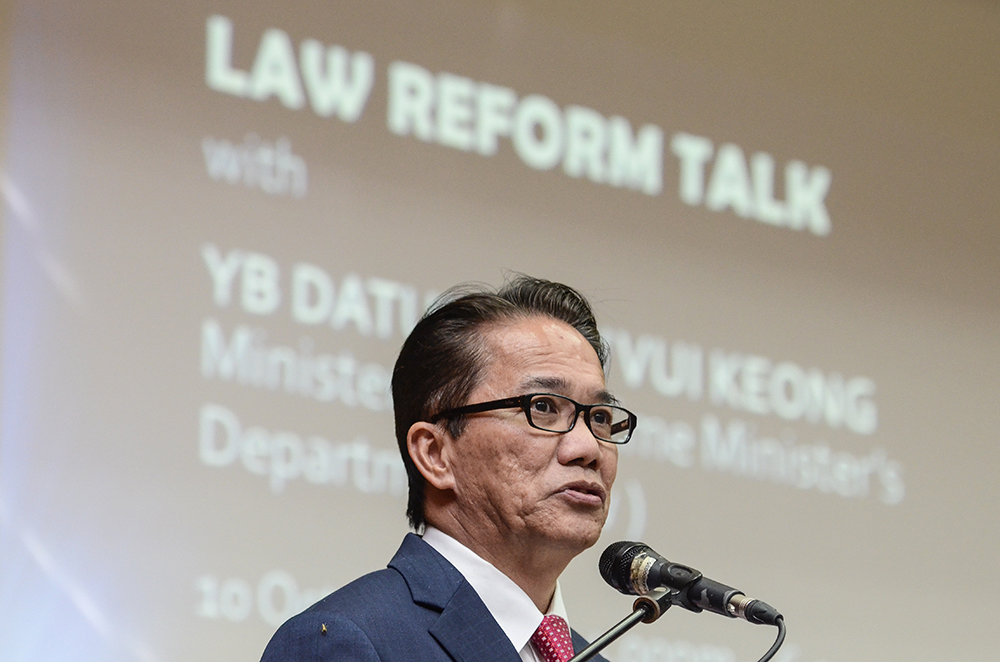Datuk Liew Vui Keong at the Law Reform Talk yesterday, 10 October.