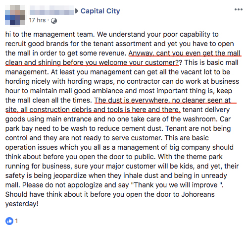 bad review on capital city facebook page