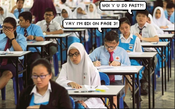 malaysian students sitting for exam