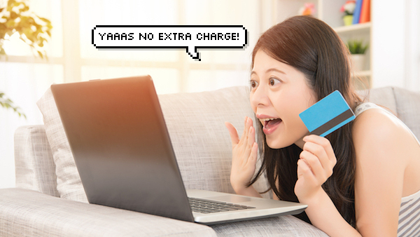 girl happy online shopping with credit card