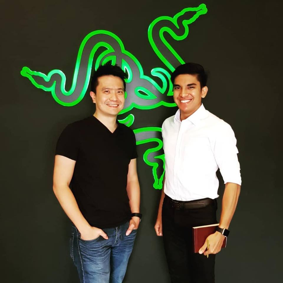 Razer CEO Min-Liang Tan (left) and Malaysia's Youth and Sports Minister Syed Saddiq at a meeting in August 2018.