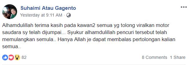 Image from Facebook Suhaimi atau Gagento