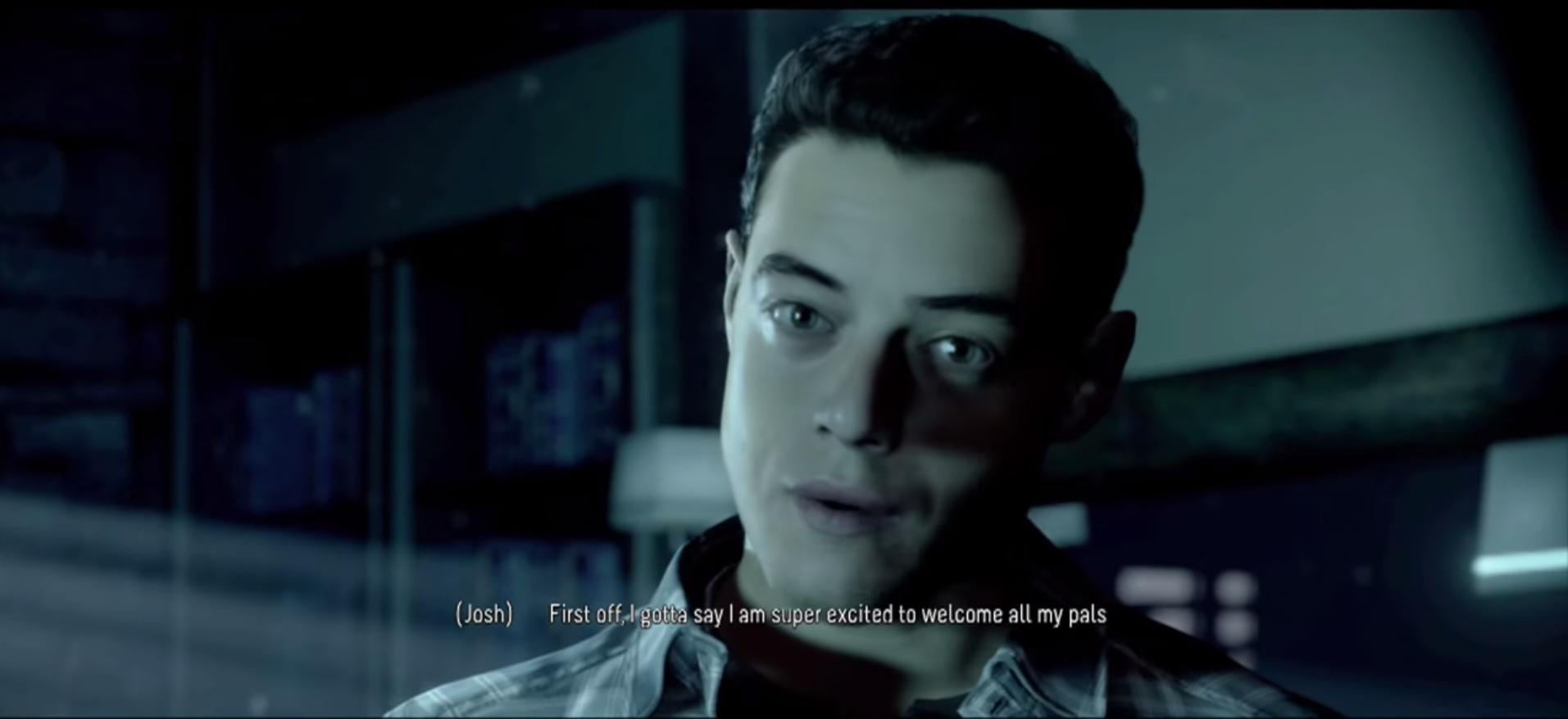Rami Malek in PS4 game Until Dawn