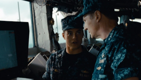 Rami Malek (left) and Liam Neeson (right) in 'Battleship'.