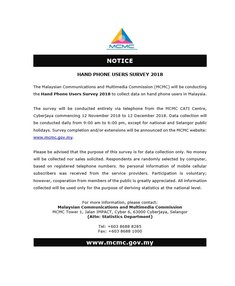The notice that was posted on MCMC's social media channels.