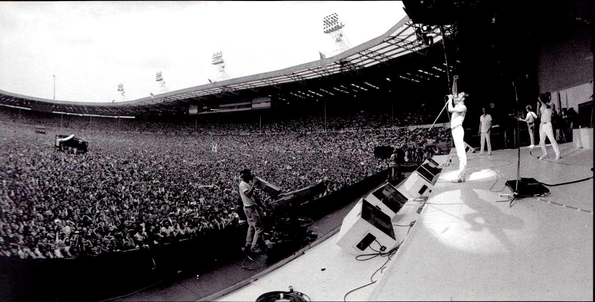 Queen performing at Wembley Stadium, London for Live Aid 1985