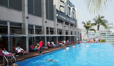 Swimming pool at the luxury hotel Aloft Kuala Lumpur.