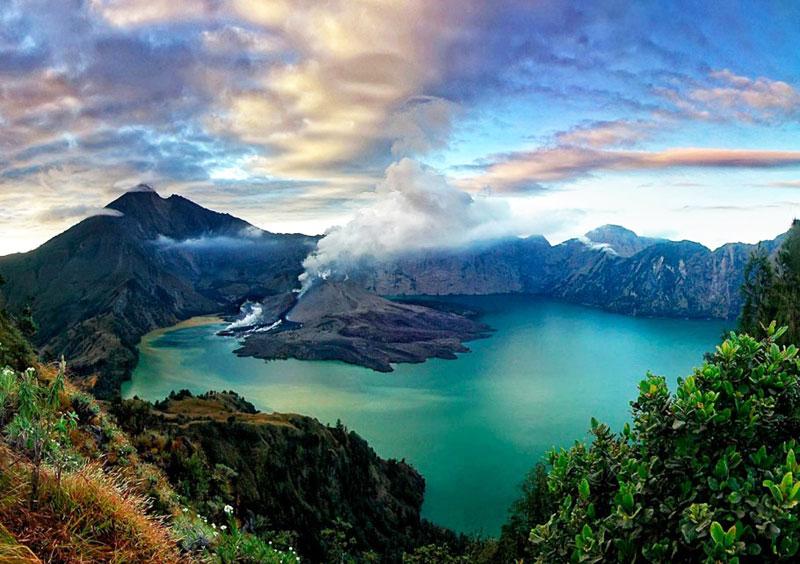 rinjani mountain in lombok indonesia