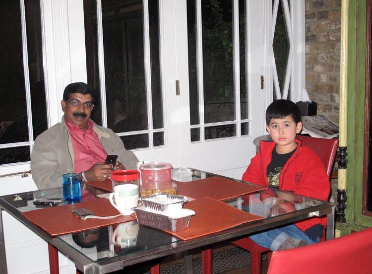 Datuk Sugumaran Raman (left) with the Tunku Putera Johor, London 2009.