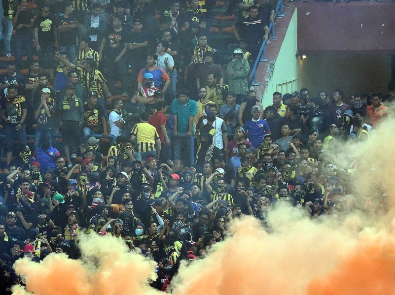 Scene after flare-throwing fans forced the abandonment of a World Cup qualifier in KL in 2015.