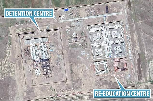 A satellite image of a 're-education' camp in Xinjiang.