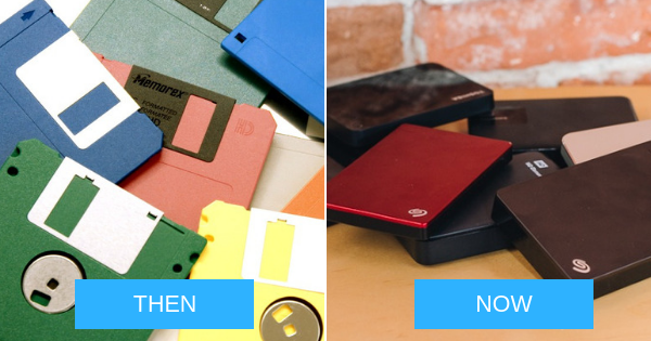 floppy disk and hard drive