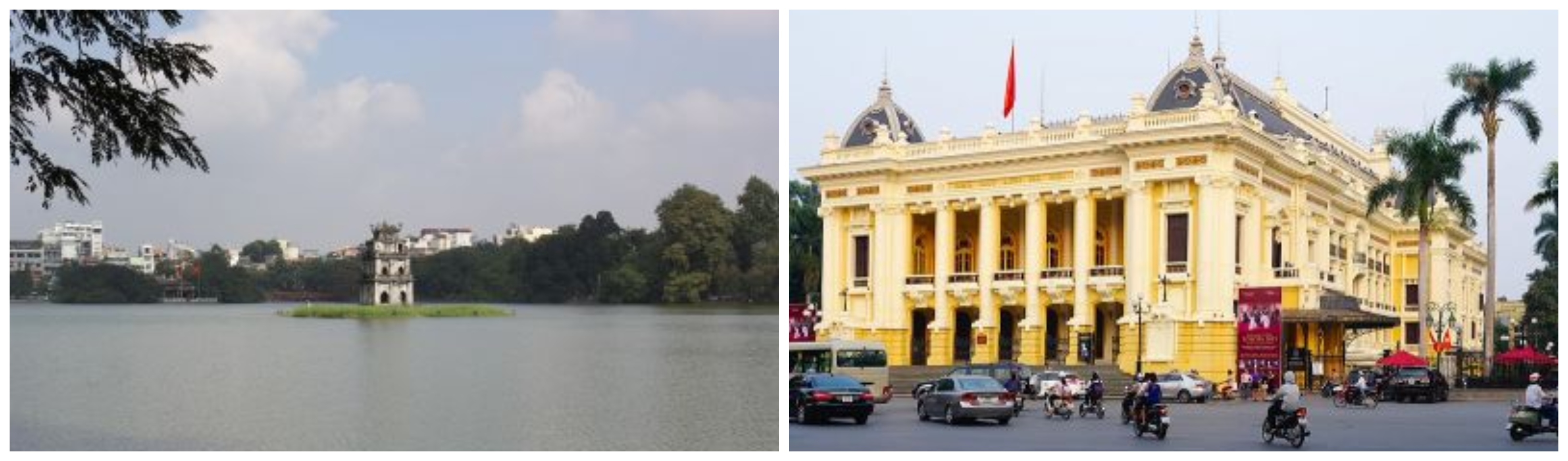 Hoan Kiem Lake (left) and Hanoi Opera House (right)