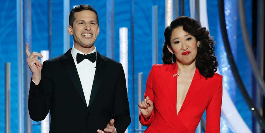 76th Golden Globe Awards hosts, Andy Samberg and Sandra Oh.