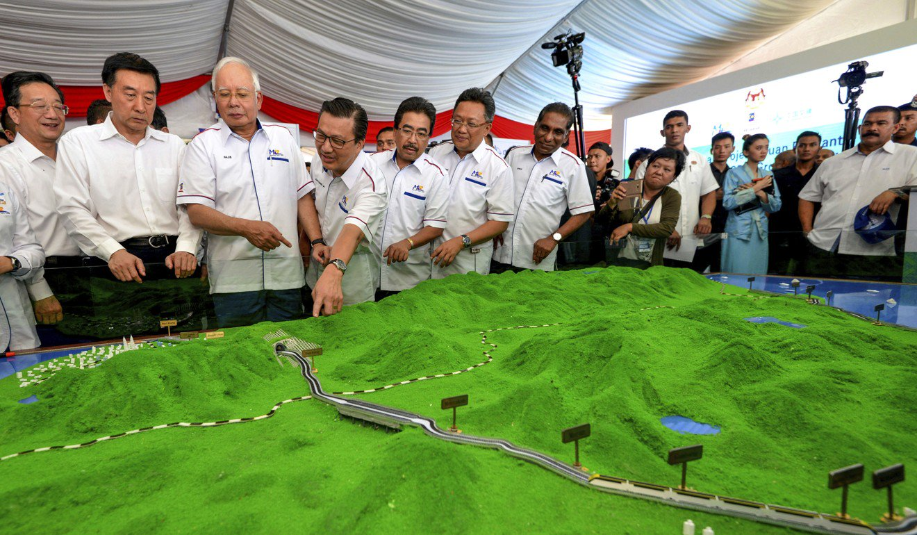 Former Malaysian Prime Minister Najib Razak, third from left, reviewing a model of a railway China agreed to build in 2017.