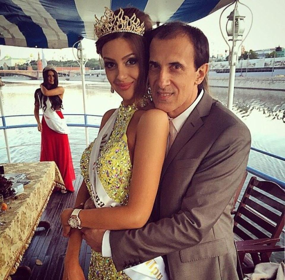 Andrey with his daughter Oksana in a picture taken on a boat near the Kremlin in 2015.